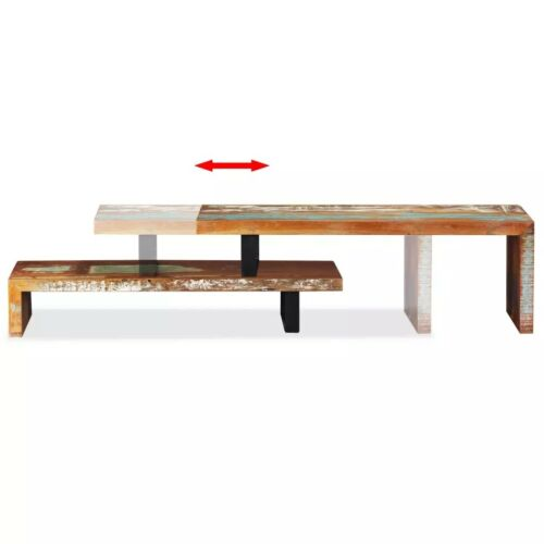 Retro TV Stand Chunky Rustic Side Table Wooden Cabinet Shelf Removable Furniture