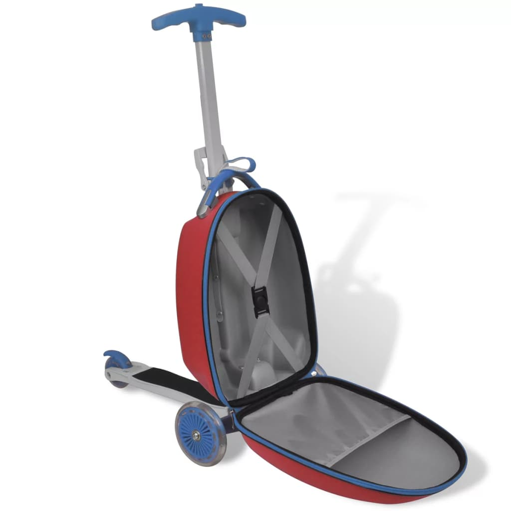 Trolley Case Push Scooter with Front Bag for Children Kid Travel Red//Blue Unisex