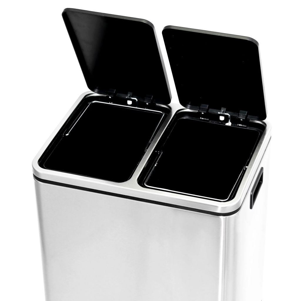 Multi Compartment Stainless Steel Large Recycling Recycle Pedal Bin Waste New