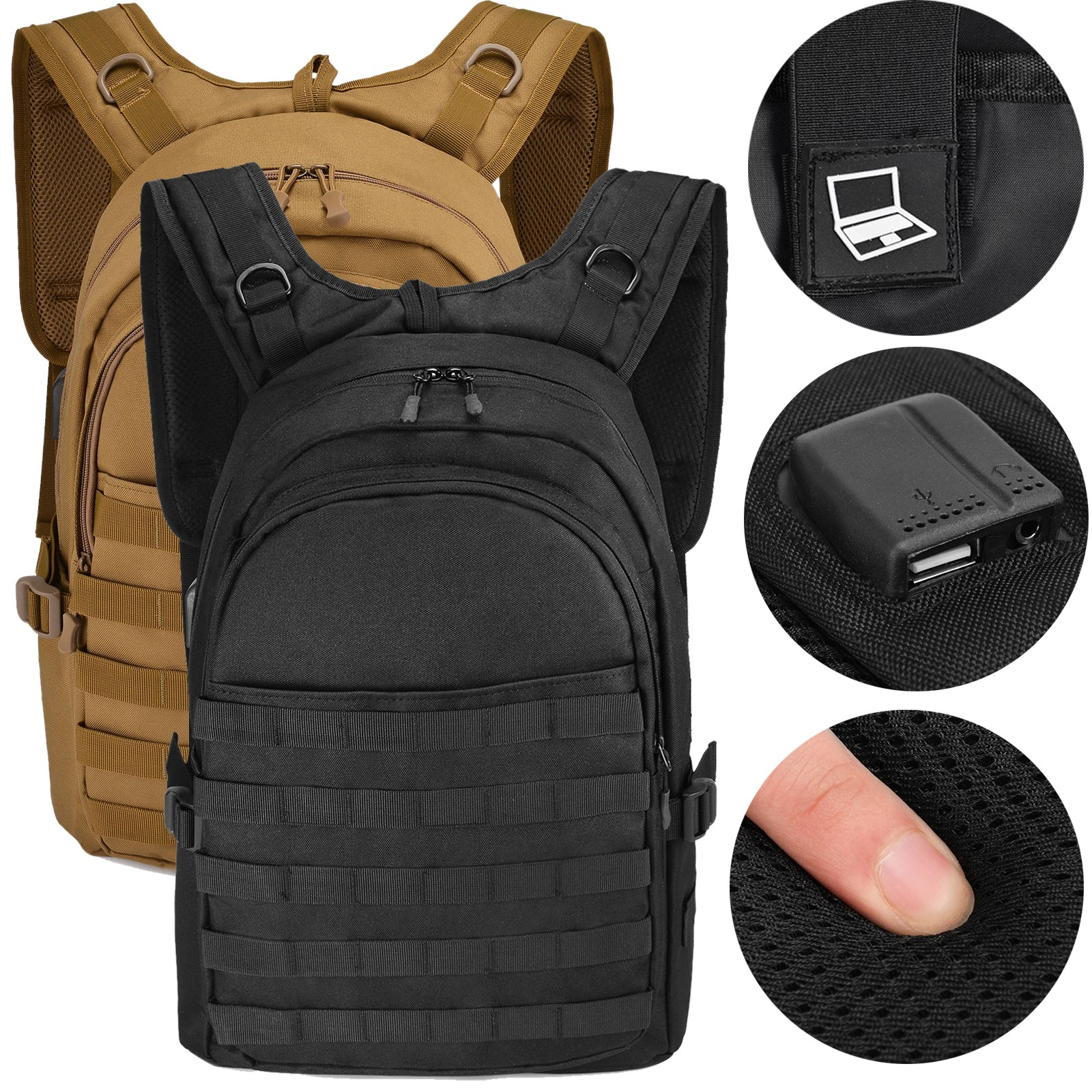 "15.6"" Laptop Backpack Waterproof Molle USB Military Tactical"
