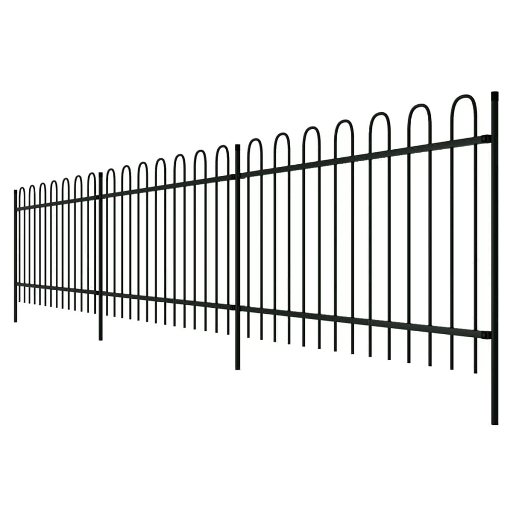 Metal Garden Fencing Panel Security Palisade Fence Steel Railing 60-150 CM Decor