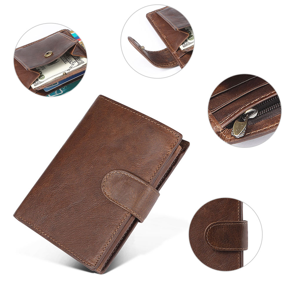 Luxury Men/'s Genuine Leather Trifold Wallet Quality Cash Credit Card Purse Gift
