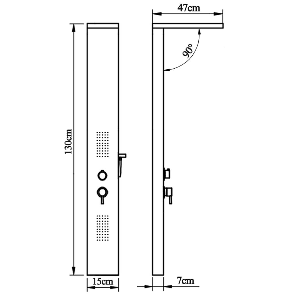 Thermostatic Shower Mix Set Column Tower Panel System Stainless Steel//Aluminium