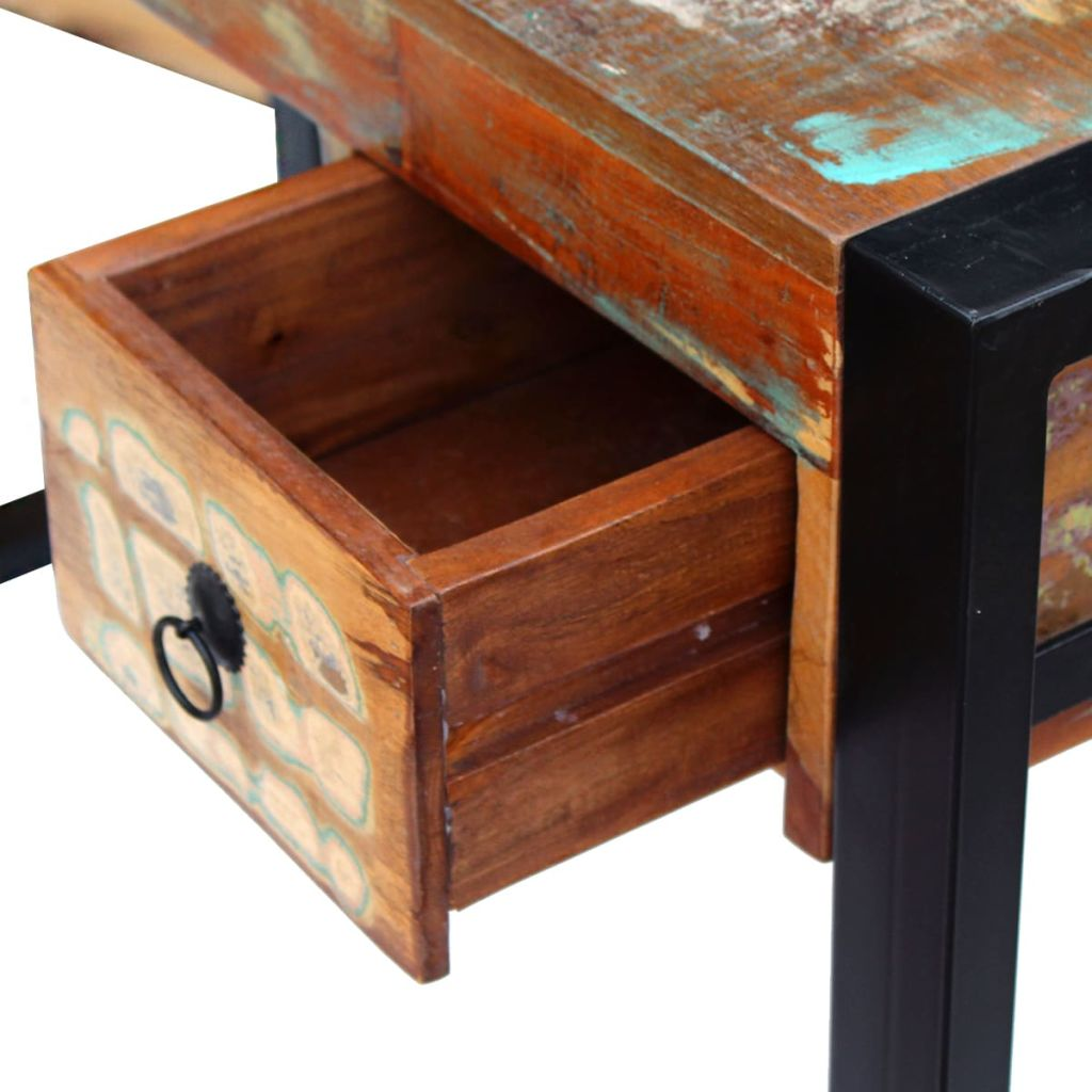 Reclaimed Solid Wood Desk Console Dressing Table with Drawer Industrial Style