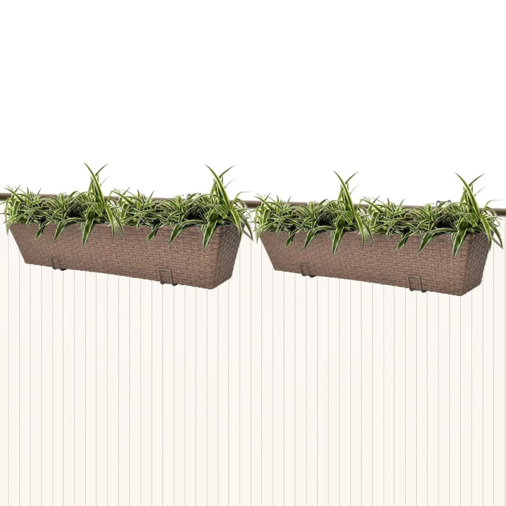 2x Large Hanging Planter Plant Pot Trough Fence Balcony Railing Pole Flower UK