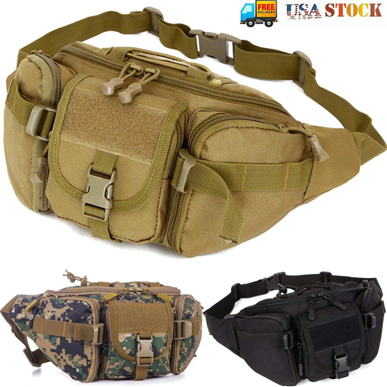 US Military Tactical Outdoor Waist Pack Belt Bags Molle Pouch Fanny Phone Hiking