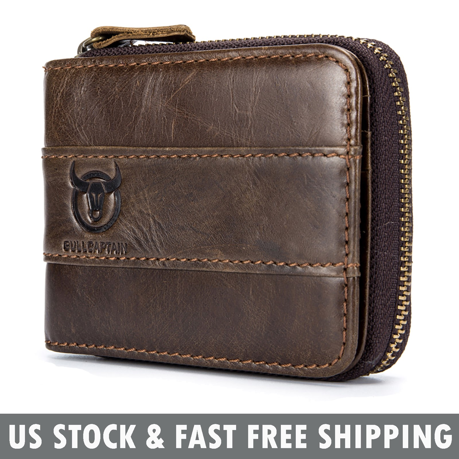 RFID Vintage Men/'s Leather Wallet Zip Around Credit Card Holder Small Coin Purse