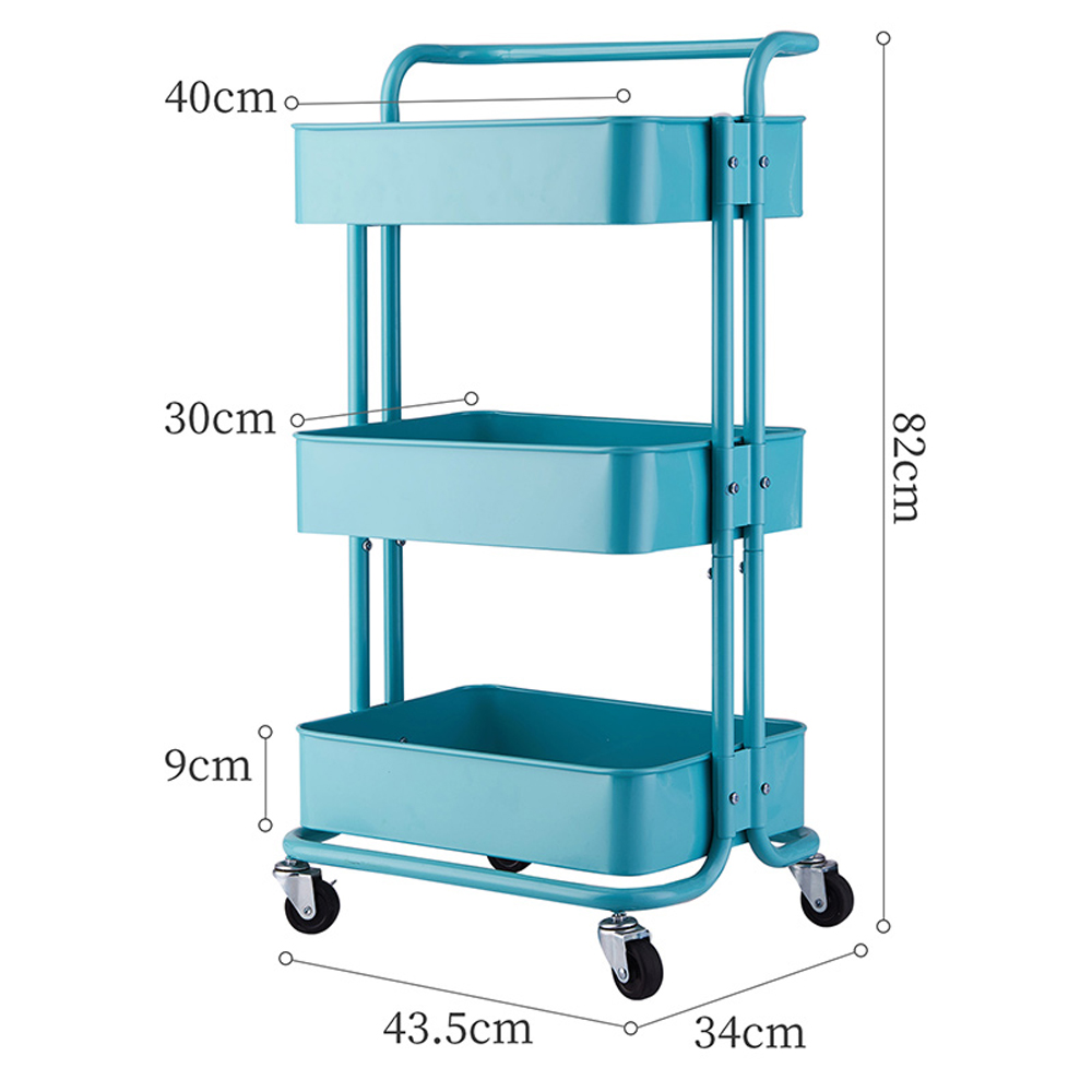 Heavy-Duty-3-Tier-Home-Kitchen-Mobile-Storage-Utility-Trolley-Cart-handle-Steel thumbnail 14