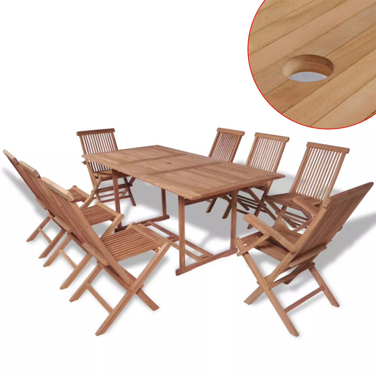 Details About Garden Dining Set 9 Pieces Table Chairs Teak Outdoor Foldable Kits