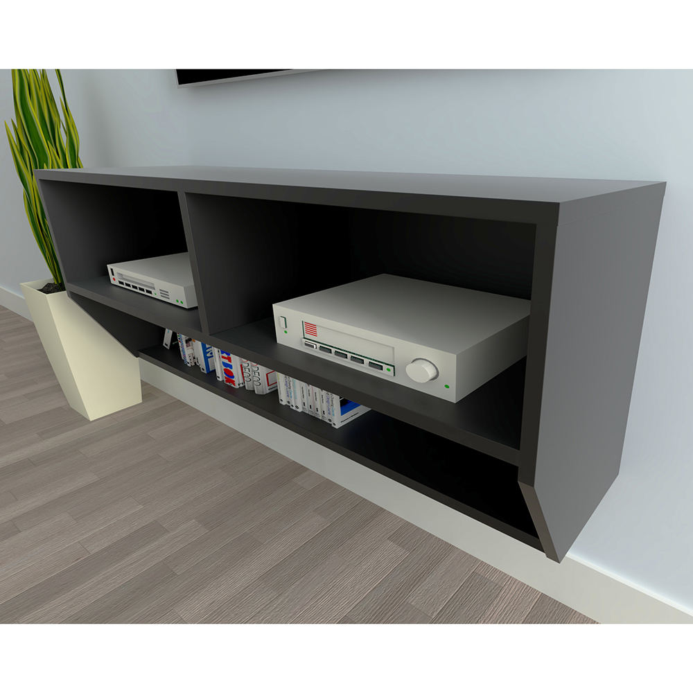 Wall-Mount-Media-Center-Shelf-Floating-Entertainment-Console-TV-Stand-Cabinet thumbnail 5