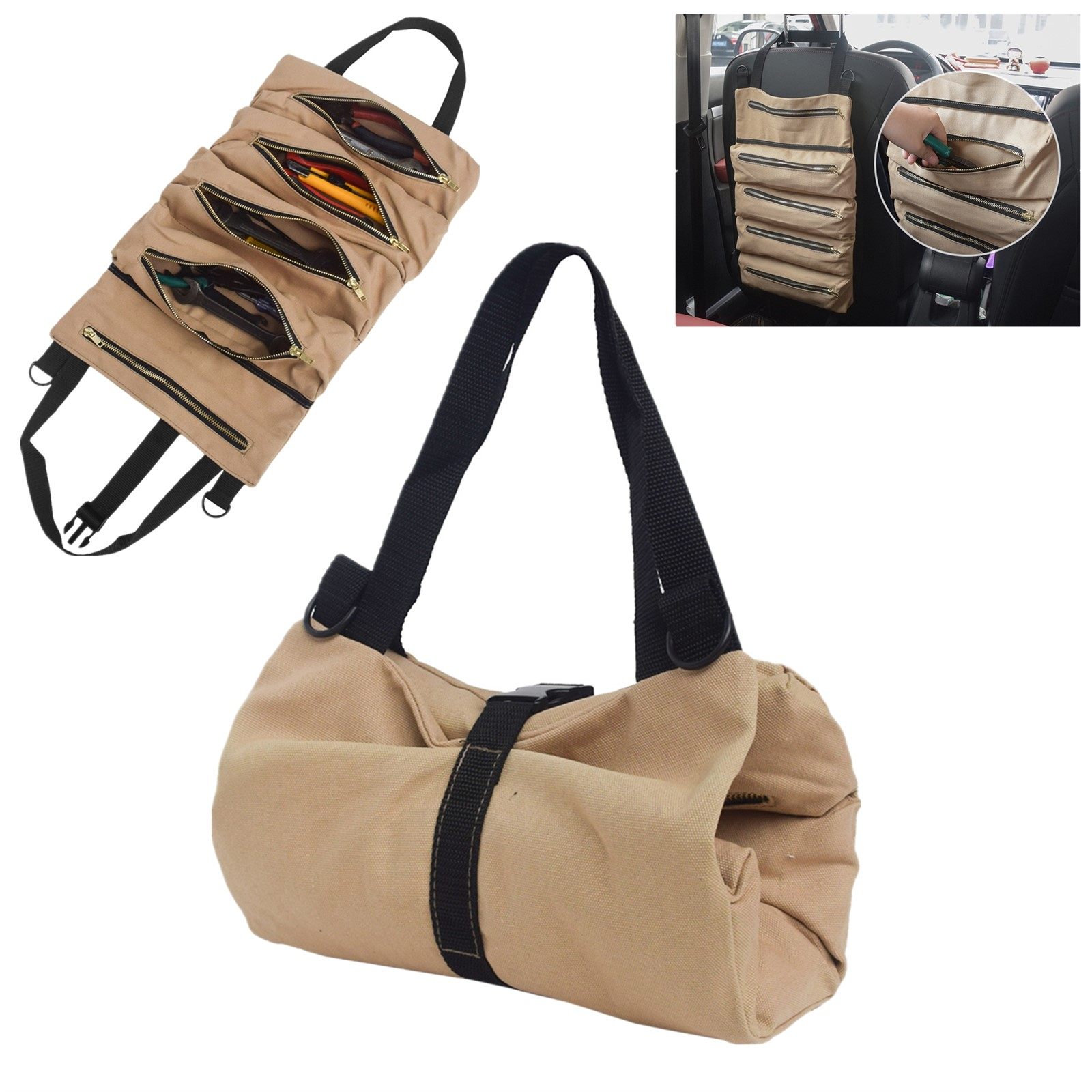 tool roll up bag waxed canvas pouch