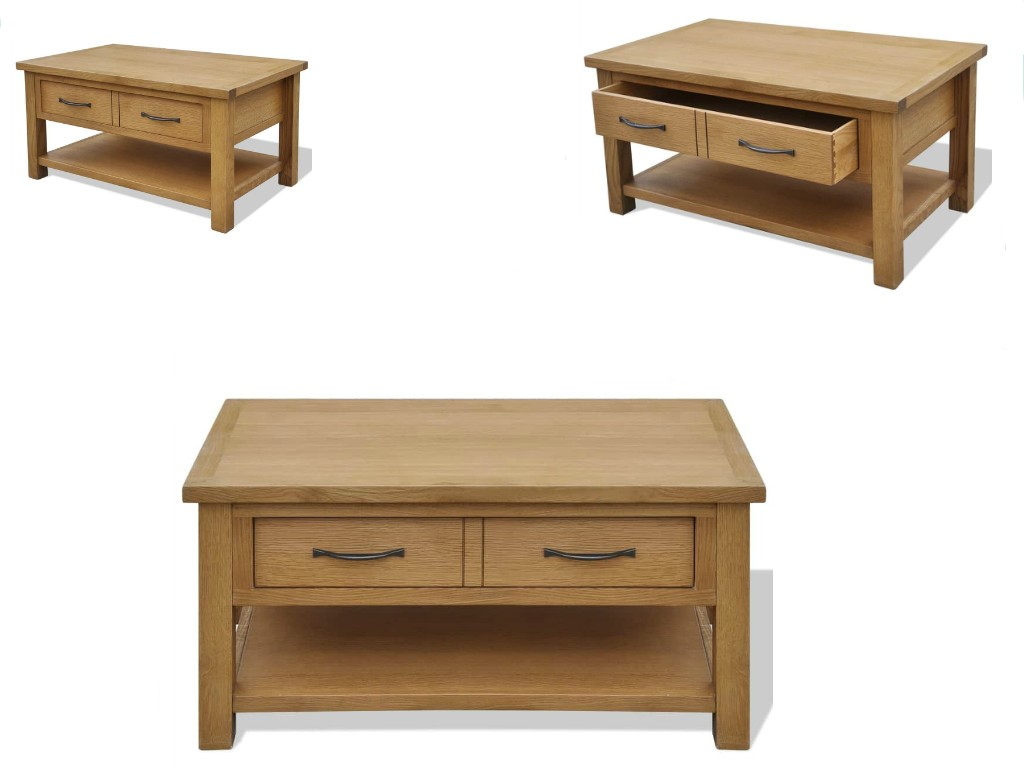 Details About Rustic Wooden Coffee Table With 2 Large Drawers Brown 34 6 X20 9 X17 7