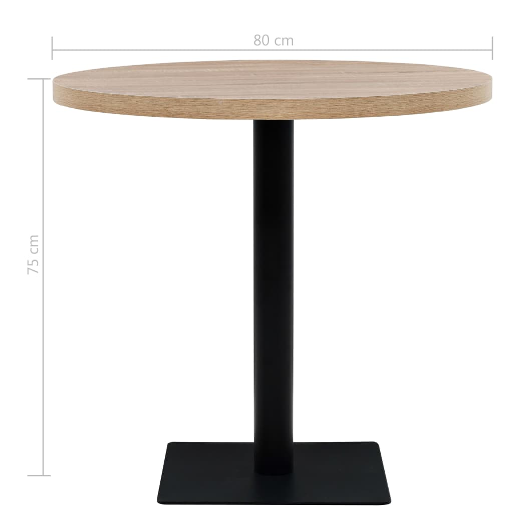 Oak Small Round Kitchen Dining Table Wooden Metal Bistro Table