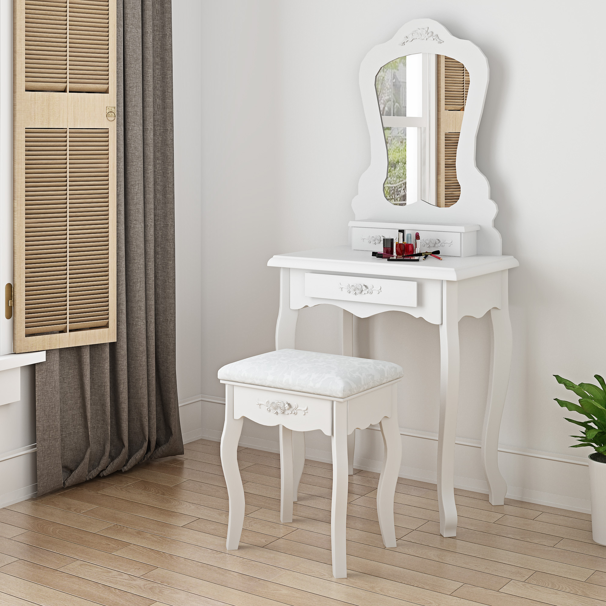 Fine Details About Modern White Small Dressing Table Make Up Desk With Stool Mirror 3 Drawers New Spiritservingveterans Wood Chair Design Ideas Spiritservingveteransorg