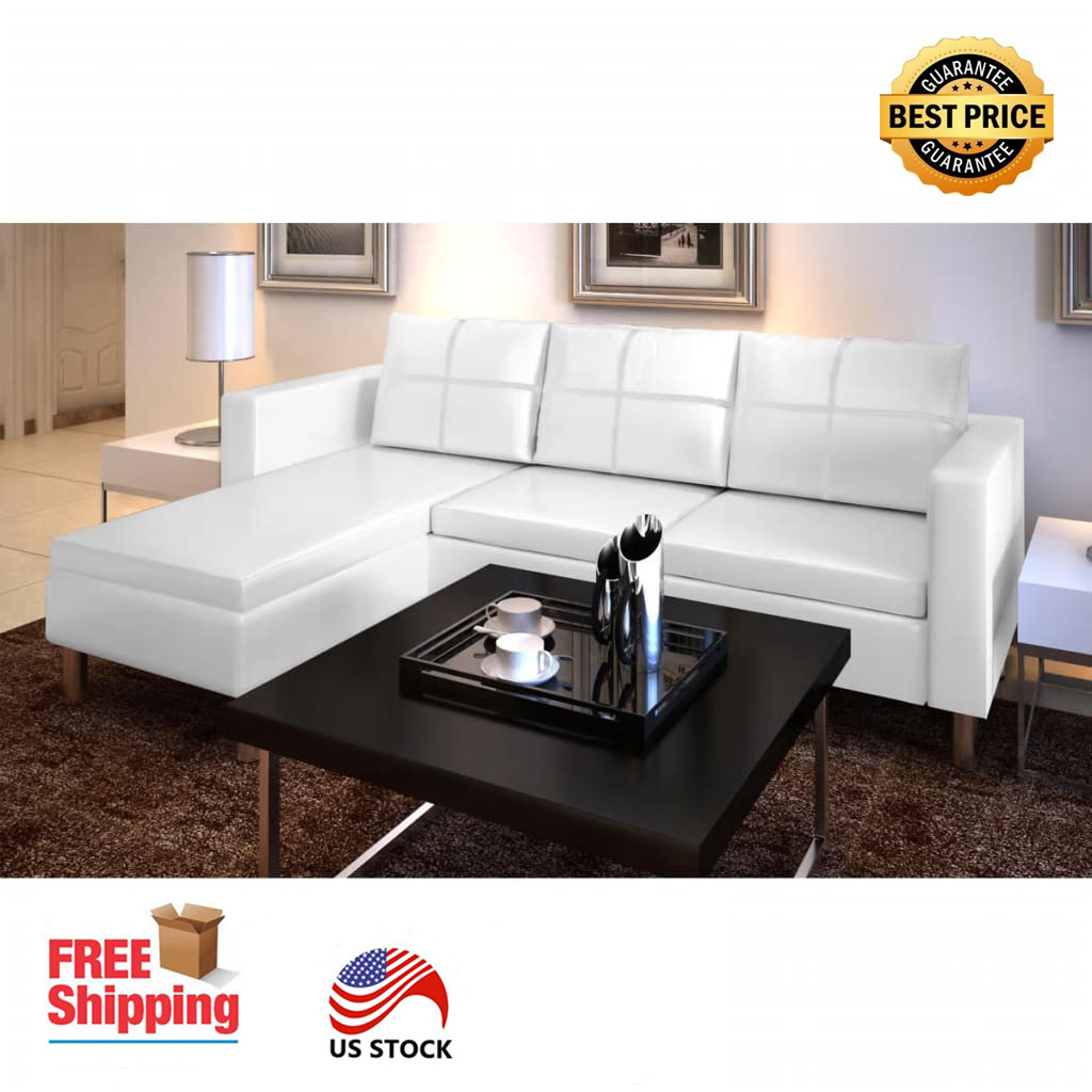 Details about 3-Seater White Leather Corner Sofa Sectional Living Room  Furniture Set USA