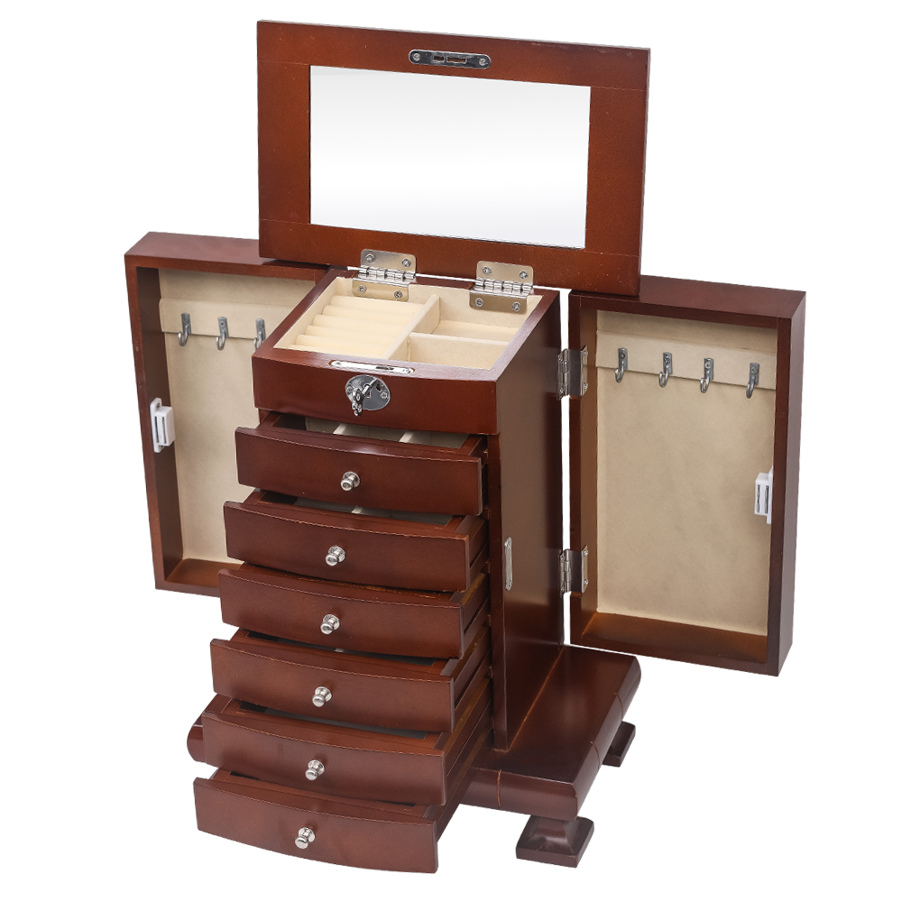 Extra Large Wooden Jewelry Box Cabinet Armoire Ring ...