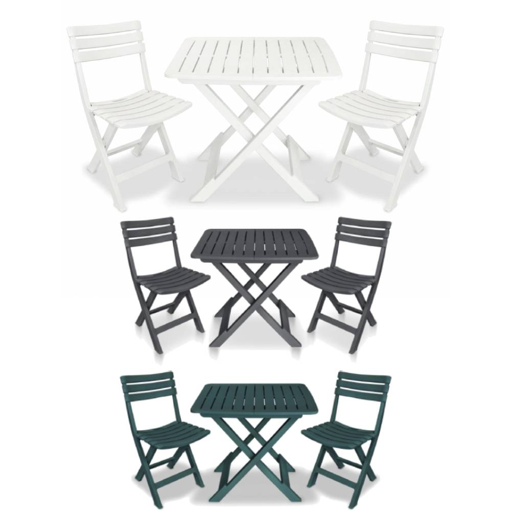 Garden Furniture - Folding Bistro Set Outdoor Garden Patio Dining Table Chairs Camping Furniture