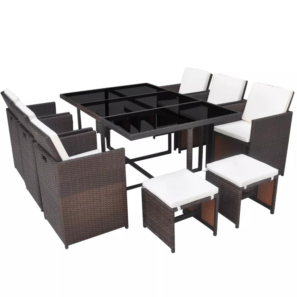 Rattan Dining Table And Chairs: Garden Poly Rattan Dining Set Table And Chairs Stool Patio