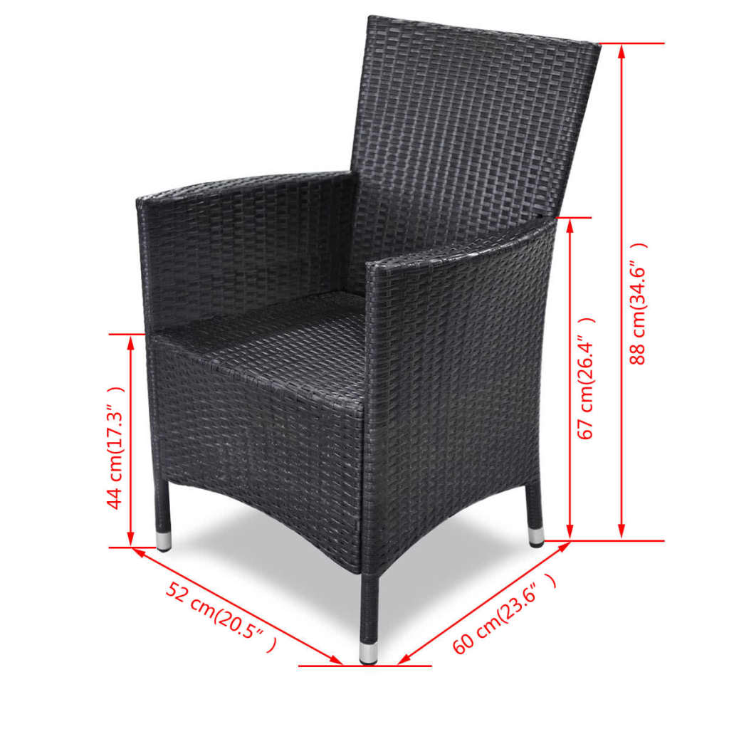 Poly-Rattan-Furniture-Garden-Dining-Set-Table-and-Chairs-Outdoor-Patio-Black thumbnail 24