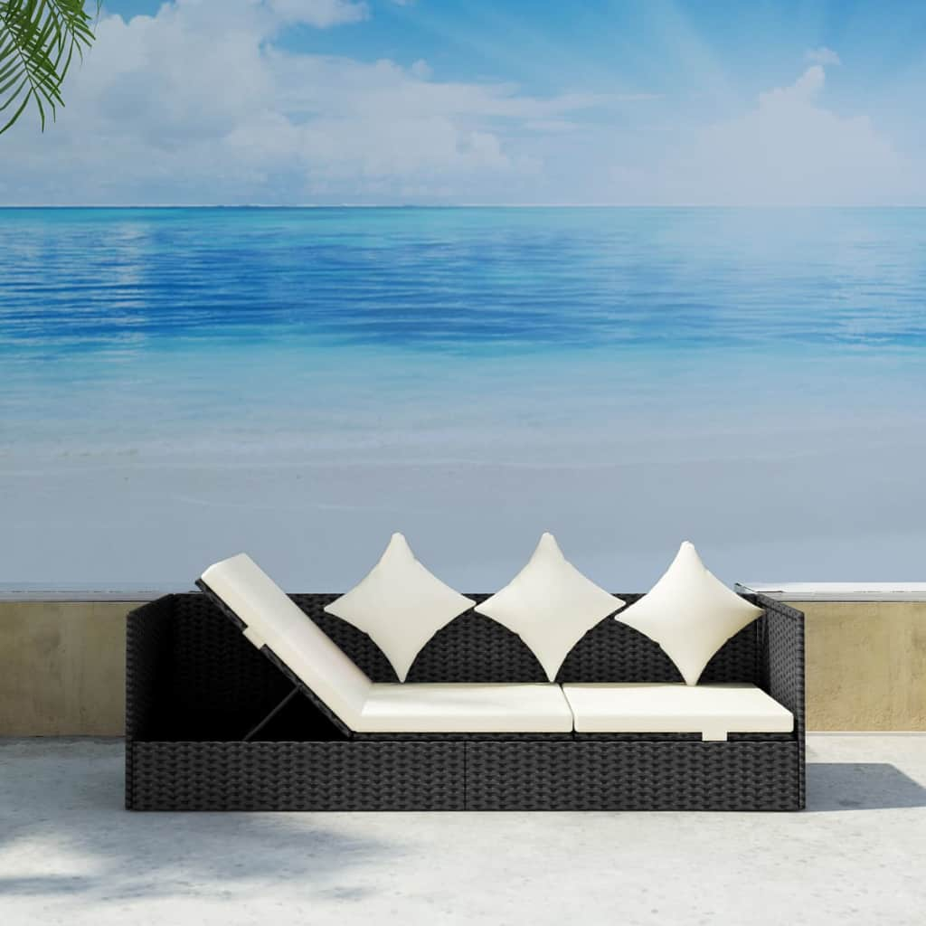 Outdoor-Patio-Sun-Lounger-Sofa-Bed-Rattan-Wicker-with-Soft-Seat-Cushion-amp-Pillow thumbnail 28