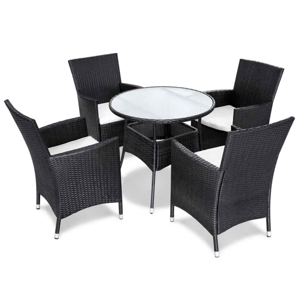 Poly-Rattan-Furniture-Garden-Dining-Set-Table-and-Chairs-Outdoor-Patio-Black thumbnail 19
