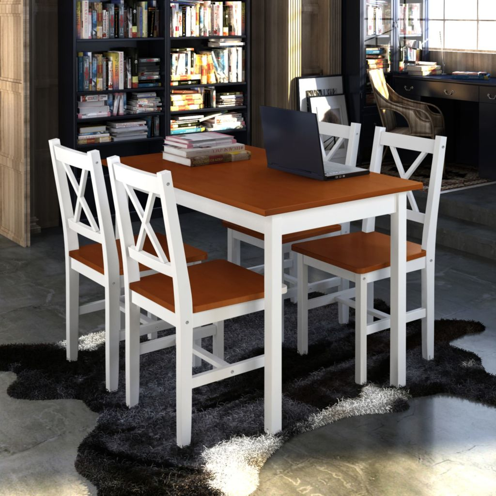 Fabulous Details About Modern Wooden Table Set With 4 Chairs Home Furniture Kitchen Dining Breakfast Us Unemploymentrelief Wooden Chair Designs For Living Room Unemploymentrelieforg