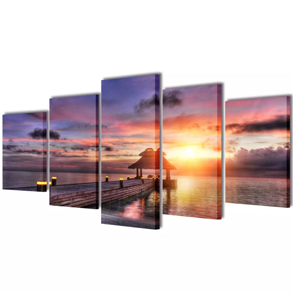 5pcs/set Canvas Kitchen Wall Art Painting Picture Animal