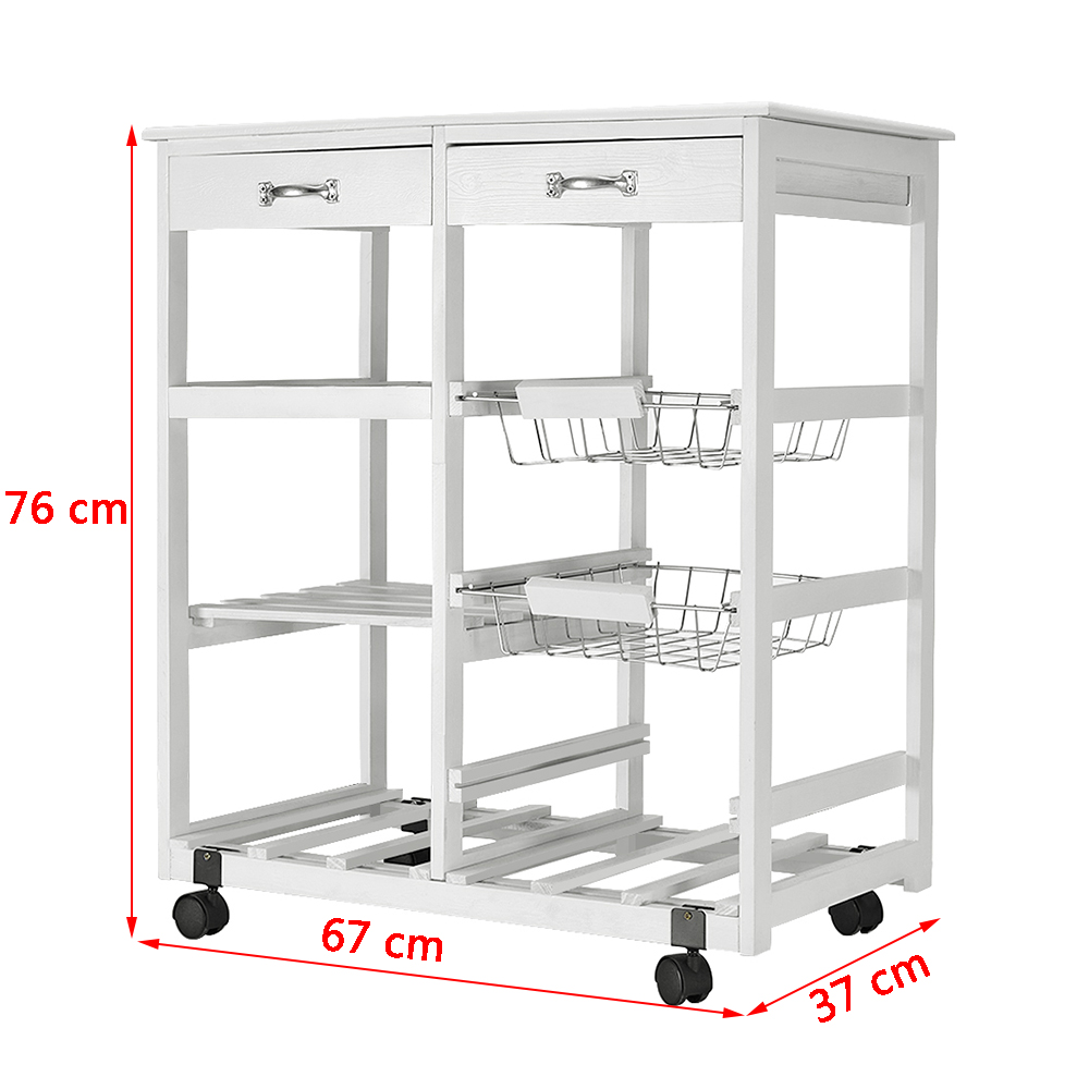 Details About 3 Tier Kitchen Trolley Wooden Rolling Cart Storage 2 Drawers 2 Baskets 2 Shelves