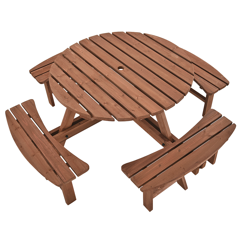 Amazing Details About 8 Seater Round Wooden Garden Picnic Table Pub Bench Seat Pressure Treated Hole Andrewgaddart Wooden Chair Designs For Living Room Andrewgaddartcom