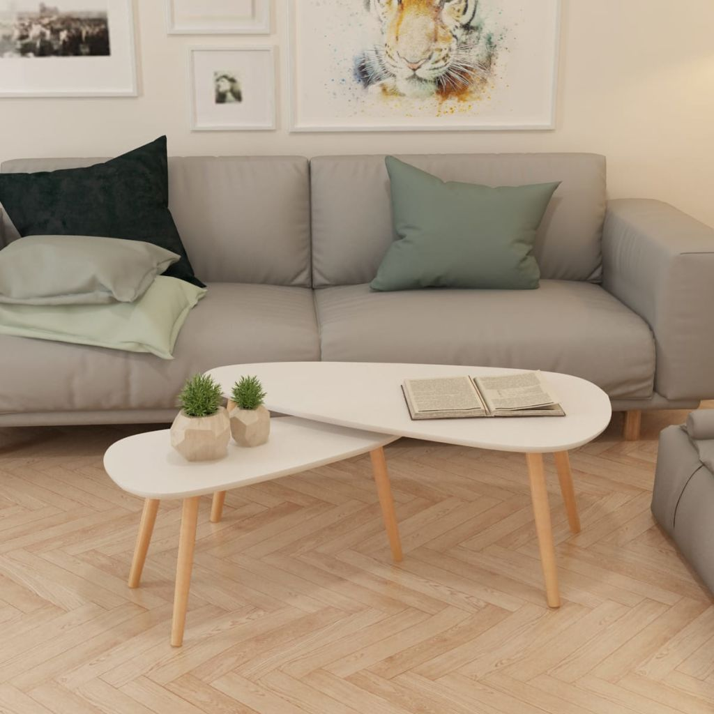 Details about Solid Pinewood Wooden Coffee Table 2 Pieces Side Livingroom  Table Multi Colors